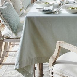 Duck Egg Embroidered Tablecloth