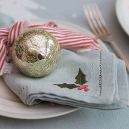 Christmas Holly Napkins - Duckegg (set of 4)