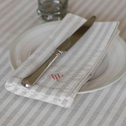 Grey Ivory Stripe Napkin