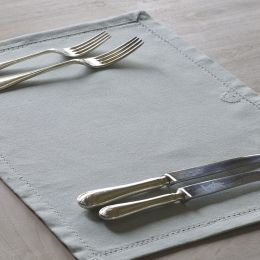 Duck Egg - White stripe Heart Placemats (Set of 2)
