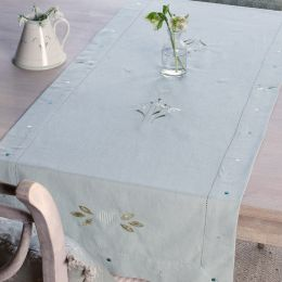 Duck Egg Snowdrop Table Runner