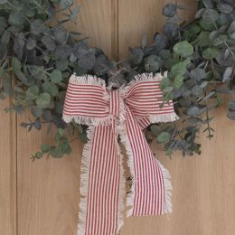 Wide Red & White Piping Stripe Ribbon