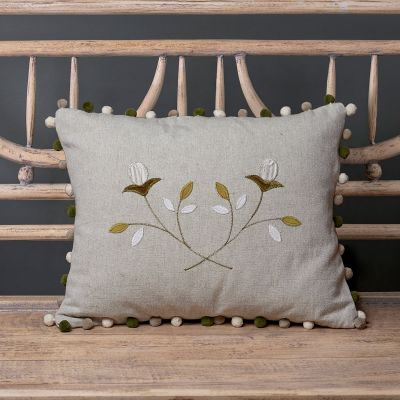 Embroidered Crossed White Rosebuds cotton Cushion - Grey