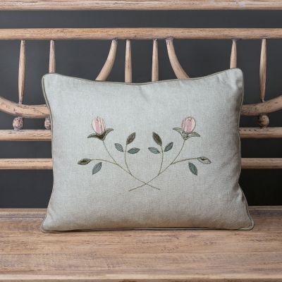 Embroidered Crossed Rosebuds cotton Cushion - Sea