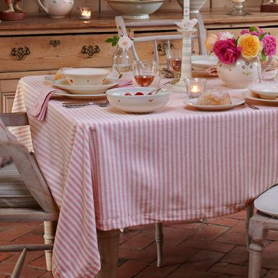Red Ivory Stripe Tablecloth