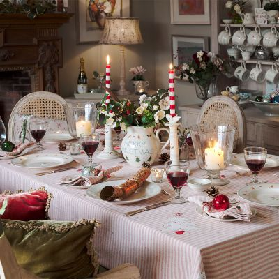 Red Stripe Robin & Rosehip Christmas Tablecloth – Large