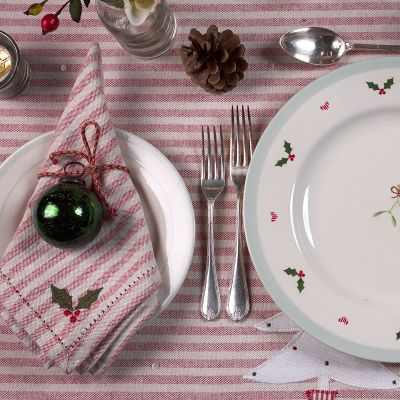 Holly & Christmas Rose Napkins - Red Stripe (set of 4)