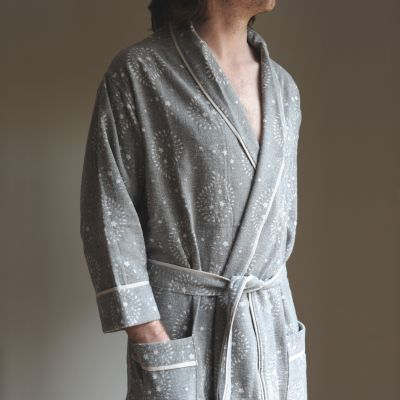 Charcoal Lullaby Men's Bath Robe