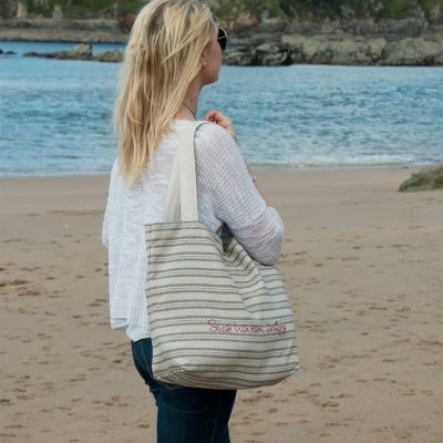 Charcoal Stripe Tote Bag
