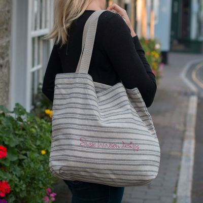 Cotton Shopping Bag - Charcoal Stripe