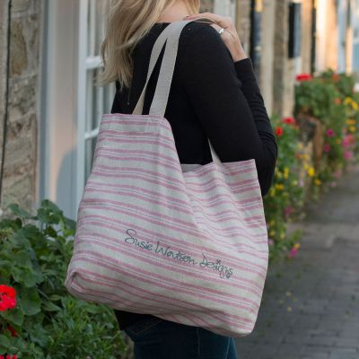 Cotton Shopping Bag - Violet Stripe
