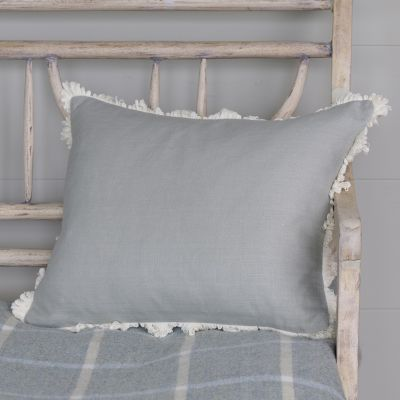 Smokey Blue Plain Linen Cushion