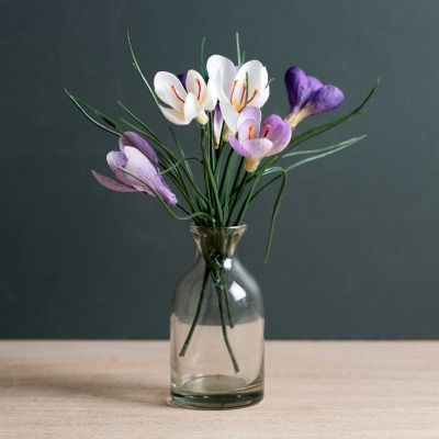 Crocus Bunch with Glass Bottle