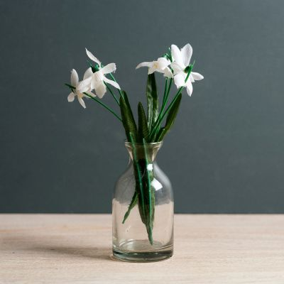 Snowdrop Bunch with Glass Bottle