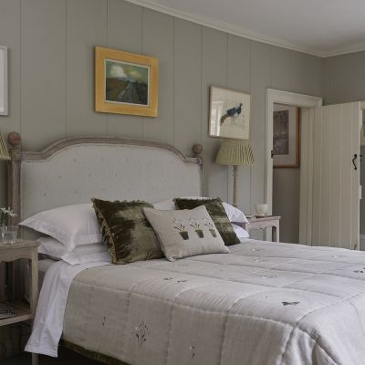 Upholstered Headboard in Grey Leaf Kingsize - Ex-Display