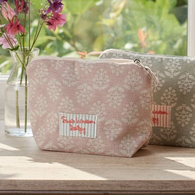 Dusky Pink Sprig Makeup Bag