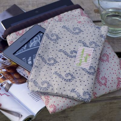 100% hand block printed linen kindle case or cosmetic bag Graphite Shalini fabric with 100% cotton stripe lining.