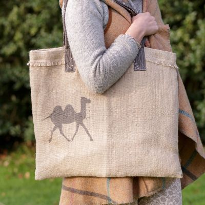 Jute bag with our new camel print in graphite