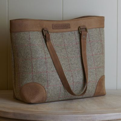 Large Grey Red Check Tweed Bag