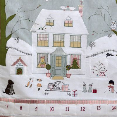 Hand-embroidered Christmas House Advent Calendar