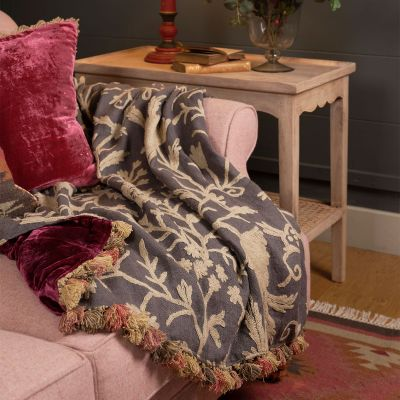 Charcoal Crewelwork & Velvet Throw with Tassels