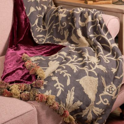 Large Charcoal Crewelwork & Velvet Throw with Tassels