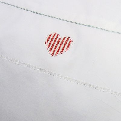 Handmade Oxford pillowcase with red stripe heart design.