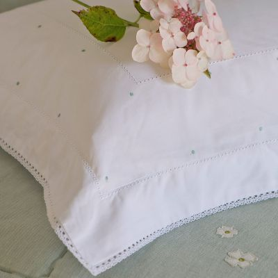 Pillow Case (Standard) - White /Duck Egg Blue Spot (Bed Linen)