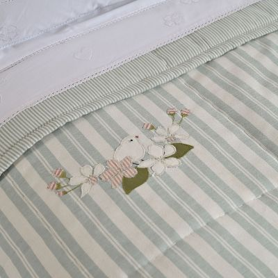 Duck Egg stripe embroidered quilt