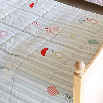 Duck Egg Stripe Floating Cotton Quilt - Single