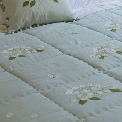 Duck Egg Hydrangea Cotton Quilt
