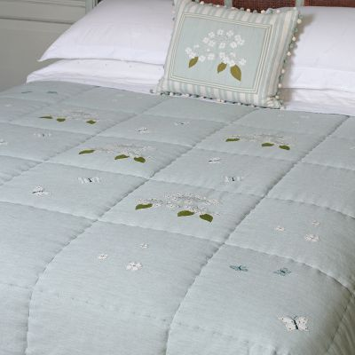 Duck Egg Hydrangea Cotton Quilt - King Size