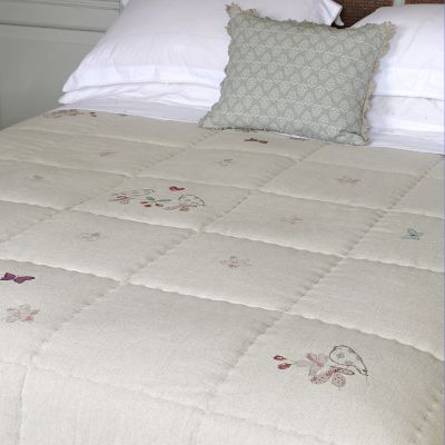 Blue Lovebirds Cotton Quilt - King Size