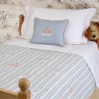 True Blue Stripe Bird & Boat Cotton Quilt - Single