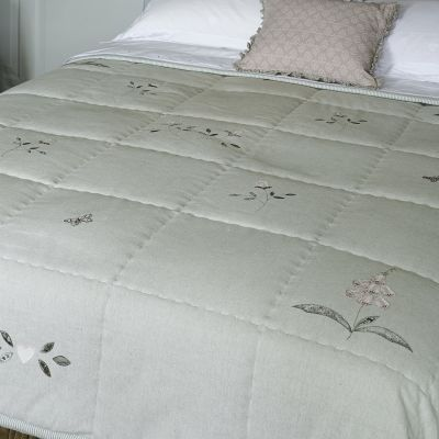 Rose & Foxglove Sea Blue Cotton Quilt - King Size