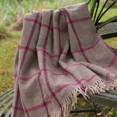 Beech Rose Check Shetland Wool Throw
