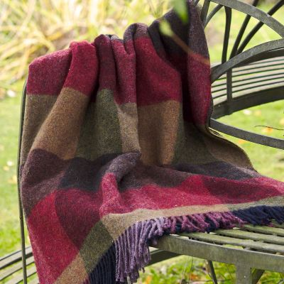 Mulberry Harlequin Shetland Wool Throw