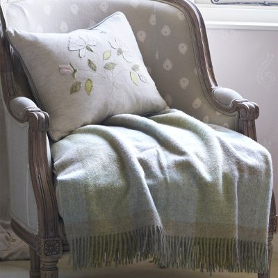 Large Pale Seas Harlequin Shetland Wool Throw