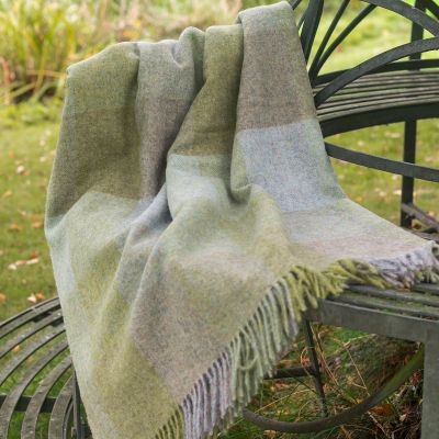 Large Evening Seas Harlequin Shetland Wool Throw