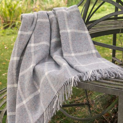 Highland Blue Ivory Shetland Wool Throw
