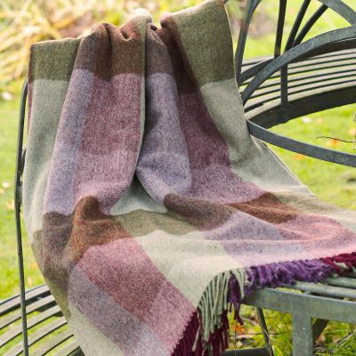 Violet /Olive Harlequin Lambswool Throw