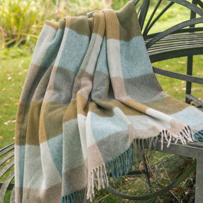 Blue Gold Harlequin Lambswool Throw