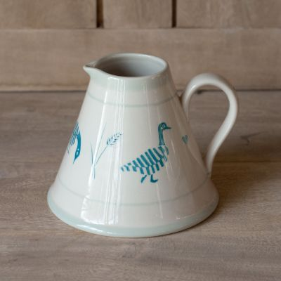 Geese in the Grass Baby Pitcher - Indigo Blue