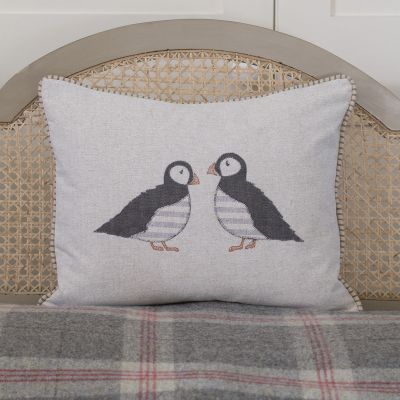 Embroidered Puffins Cushion
