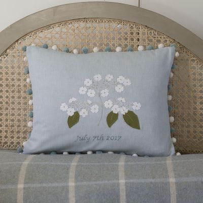 Personalised Embroidered Lacecap Hydrangea Cushion
