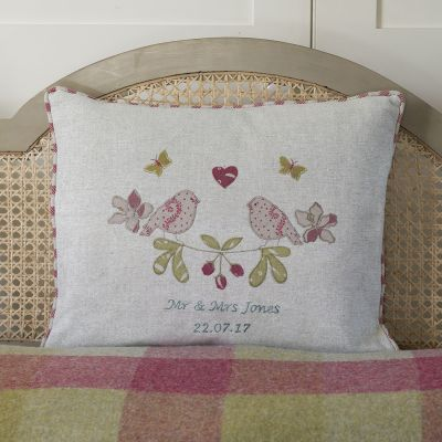 Personalised Embroidered Lovebirds Linen Cushion