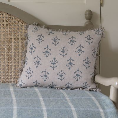 Marine Blue Moonflower Linen Cushion