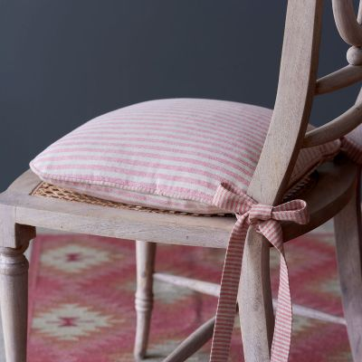 Red Natural Stripe Chair Cushion