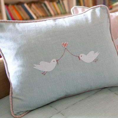 Embroidered Lovebird Cushion