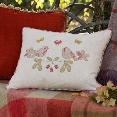 Embroidered Lovebirds Linen Cushion